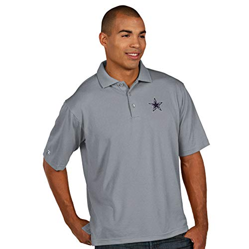 - Dallas Cowboys NFL Mens Antigua Pique Xtra Lite Polo, Heather Gray, Large