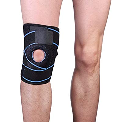 Connia Portable Knee Brace for Men Women with Side Stabilizers Patella Gel Pads for Knee Support Blue: Clothing