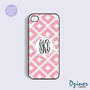 Monogrammed iPhone 5c Case - Pink Ikat Diamond Pattern iPhone Cover