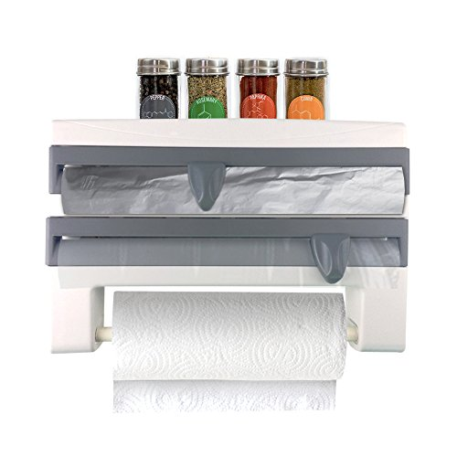 Kitchen Multi Dispenser | Multifunctional 4 in 1 Wall Mounted Organizer for Regular Size / Standard Plastic Wrap Aluminum Foil Paper Towel Roll Holder and Spice Rack | Screws Included - Aluminum Foil Extra Standard Roll