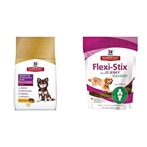 Hill's Science Diet Adult Small & Toy Breed Sensitive Stomach & Skin Chicken Meal & Barley Recipe Dry Dog Food (4 pound bag) and Flexi-Stix Jerky with Real Turkey Dog Treats (7.1 ounce bag)