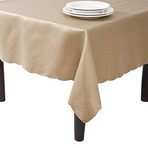 Design Scalloped Satin (SARO LIFESTYLE LN201.KH65162B Tablecloth Liners With Satin Sheen and Scalloped Edge, Khaki, 65