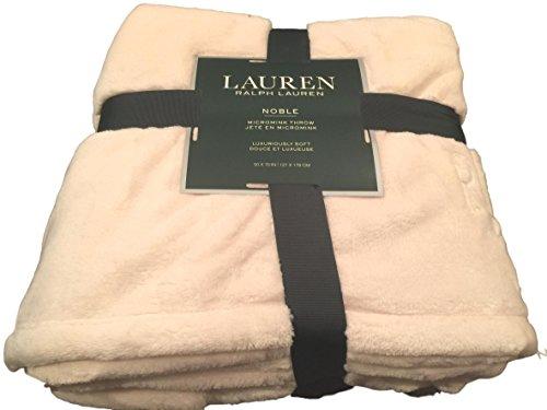 Lauren Ralph Lauren Noble Plush Micromink RLL Monogrammed Oversized Throw Blanket - Cream 50 x 70