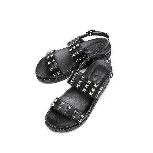 Sandalias de de Sandalias Altos Zapatillas Negro de de Dulces Planas Sólido Verano Tacones bajo de Punta Tacón de Mujer 38 Ocasionales Moda DHG Sandalias Color zd0qw0