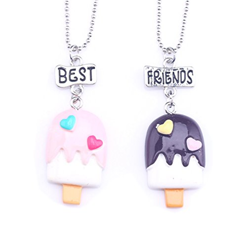 Best Friend Cartoon Ice Cream Enamel Pendant Necklace Set for Girls Kid Teen Friendship Sister BFF for 2 -