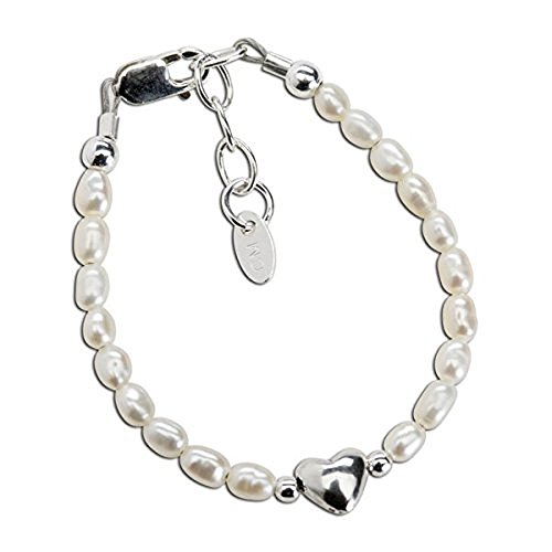 Girls Bracelet, Infant Small Baby 0-12 Months, Destiny - Silver Bracelet, Precious Silver Bracelet Crafted with Imitation Pearls Accented with a Silver Drop Heart in the Center
