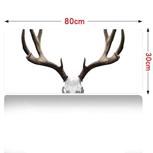 (Antlers Decor Mouse pad A Deer Skull Skeleton Head Bone Halloween Weathered Hunter Collection Mouse Pad Large Size 700x300mm 28×12in)