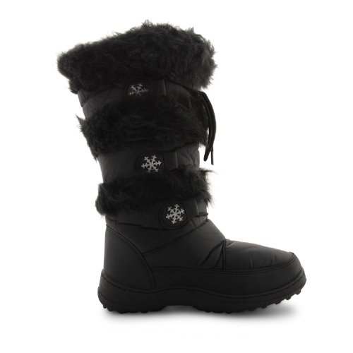 New Ladies Winter Fur Ski Moon Thermal Water Resistant Wellington Boots Size 3-8 Black 4WN3WBs
