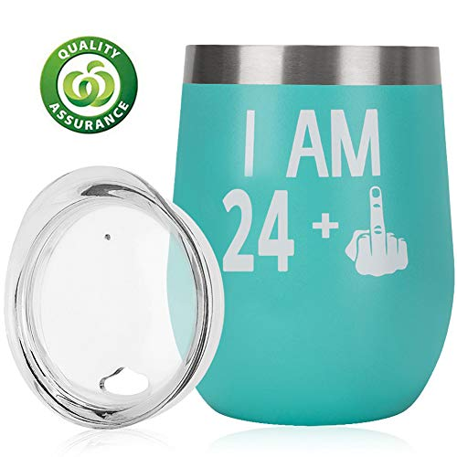 Turning 25 Gift|25th Birthday Gifts For Women Men|25th Bday For Her Him|24 + One Finger|Funny Wine Gift Idea| 12oz Insulated Stainless Steel Tumbler with lid |Anniversary Gift Idea for Him, Her