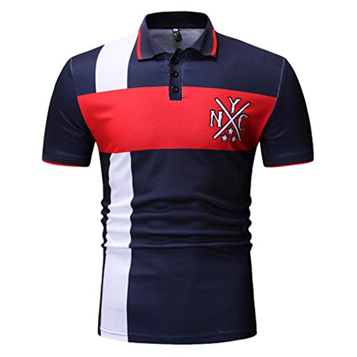 - Men Personality Fashion Stitching Printed Short-Sleeved Shirt Button Slim Top