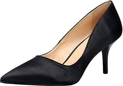 Abby G1 Womens Plus Size Kitten Heeled Nightclub Party Cross Dressing Party Wedding Overside US5-15 Closed Toe Slip On Satin Pumps Black Y3rzKK1