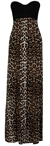 (CHOCOLATE PICKLE New Womens Plus Size Grecian Boob Animal Print Long Maxi Dress XL 12-14 Brown)
