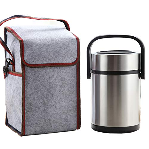 - Lunch Jar Insulated Food Container with 3 Cells Leak-proof Stainless Steel Lunch Box Hand-held Bento with Cooler Tote Bag, 2L(0.53Gal)