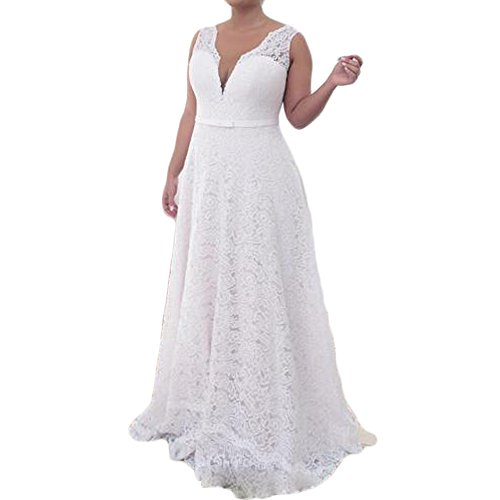 d492e0c21a Liliesdresses Women s Plus Size Wedding Dress with No Sleeve Lace V ...