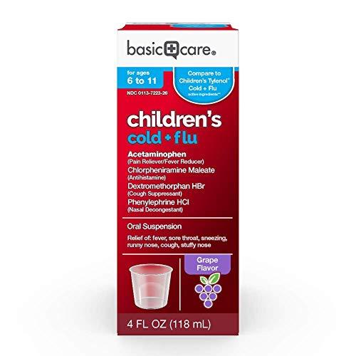 Basic Care Children's Cold & Flu Oral Suspension, Grape Flavor, 4 Fluid Ounce ()