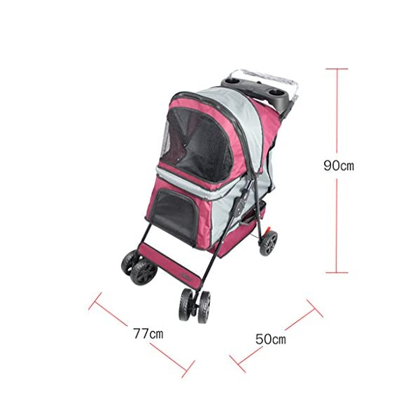 YD Pet Travel Carrier Pet Trolley Multifunctional Folding Four-wheeled Pet Stroller Cat Teddy Large Dog Cart Pet Scooter… Click on image for further info. 2