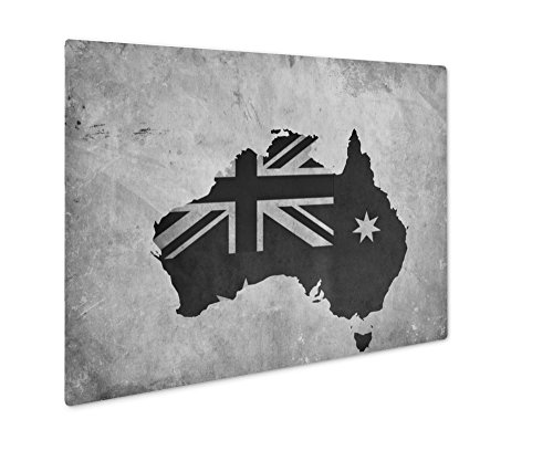 (Ashley Giclee Vintage Map of Australia On Grunge Paper, Wall Art Photo Print On Metal Panel, Black & White, 24x30, Floating Frame, AG6567712)