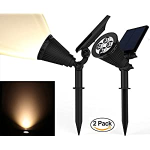 Solar Spotlights, Magictec Warm Light 2-in-1 Adjustable 4 LED Wall / Landscape Solar Lights with Automatic On/Off Sensor, 2 Pack