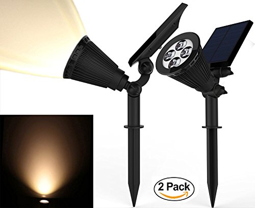 Solar Spotlights, Magictec Warm Light 2-in-1 Adjustable 4 LED Wall / Landscape Solar Lights with Automatic On/Off Sensor, 2 - Spotlight Landscape