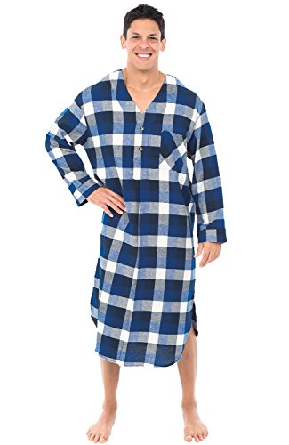 Alexander Del Rossa Mens Flannel Nightshirt, Long Lightweight Cotton Kaftan, Small Blue Navy and White Plaid (A0548Q37SM)]()