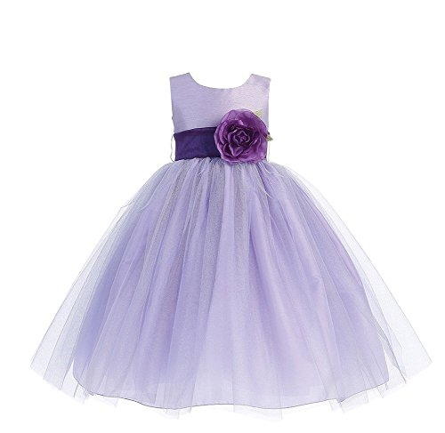 Lilac Flower Girl Dress (Blossom Poly Silk Bodice & Tulle Skirt Dress with Detachable Flower & Sash (3T,)