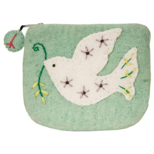 Dzi Felted Coin Purse - Dove Peace Coin Purse Credit Card Holder