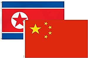 2x 32'x3' Combo al por mayor Corea coreano & China chino 2banderas bandera Banner latón ojales casa Banner latón arandelas resistente a la decoloración doble cosido Premium calidad