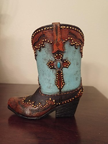 Hand Painted Decorative Mini Cowboy Boot - Use in The Kitchen, on Your Desk Or Bedside Table to Hold Pens, Pencils, Glasses, Scissors, Paper Clips, Small Flowers - Great for Paint Brushes Too!