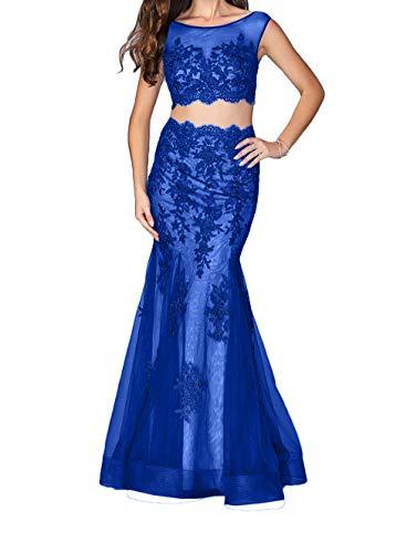 Abendkleider Braut Festlichkleider Figurbetont Schnitt Partykleider Lang Blau Ballkleider mia Schmaler La Royal Trumpet Spitze Etuikleider 5wqngIxXU