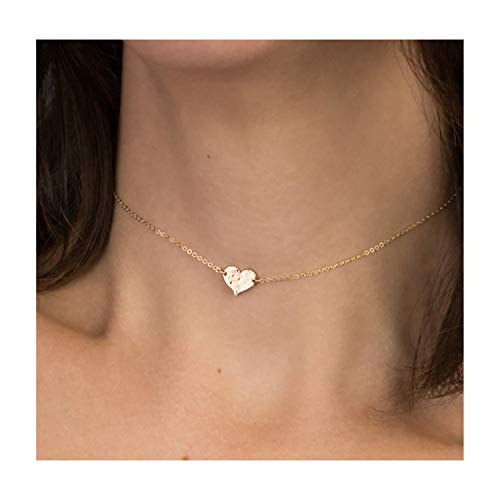 (Mevecco Gold Dainty Heart Hammered Choker Pendant Necklace,18K Gold Plated Tiny Heart Charm Minimalist Chain Handmade Simple Everyday Choker Necklace for Women )