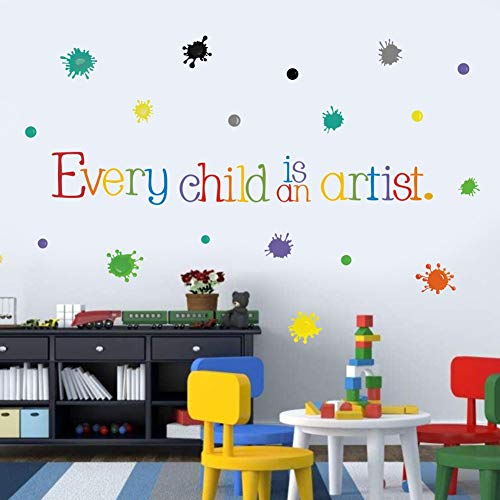 - TOARTi Every Child is an Artist Wall Decal, Watercolor Paint Splash with Dots Sticker for Classroom Decoration,Colorful Sticker Home Wall Art