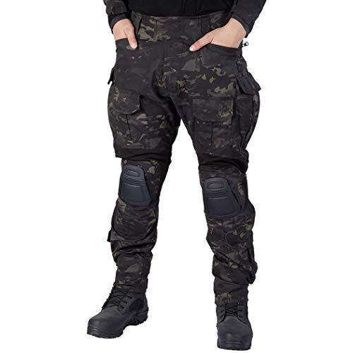 IDOGEAR G3 Combat Pants Multicam Men Pants with Knee Pads Airsoft Hunting Military Paintball Tactical Camo Trousers (Multicam Black, 36W/33L)