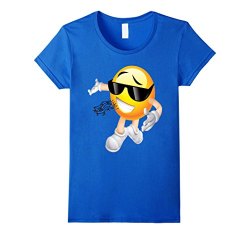 Womens MC DJ Emoticon T Shirt 2 Medium Royal Blue (Pitch Perfect Costume Ideas)