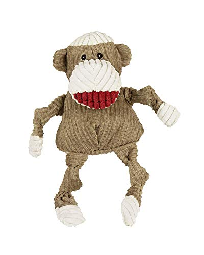 (HuggleHounds Plush Corduroy Durable Squeaky Knottie, Dog Toy, Great Dog Toys  for Aggressive Chewers, Sock Monkey, Small)