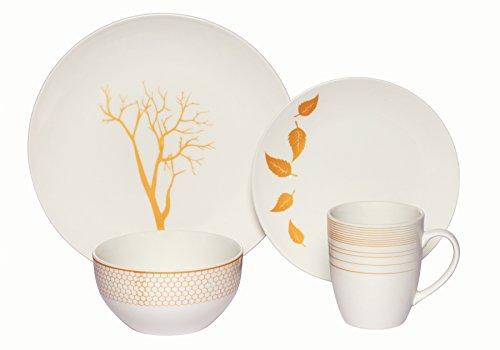- Melange Coupe 32-Piece Porcelain Dinnerware Set (Gold Nature) | Service for 8 | Microwave, Dishwasher & Oven Safe | Dinner Plate, Salad Plate, Soup Bowl & Mug (8 Each)