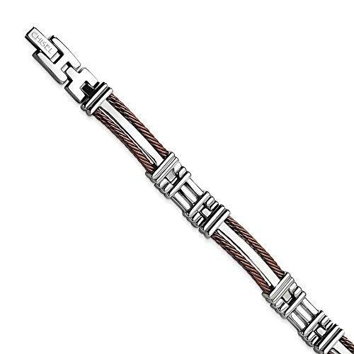 Acier inoxydable de couleur chocolat-IP-JewelryWeb Bracelet 8,5 pouces