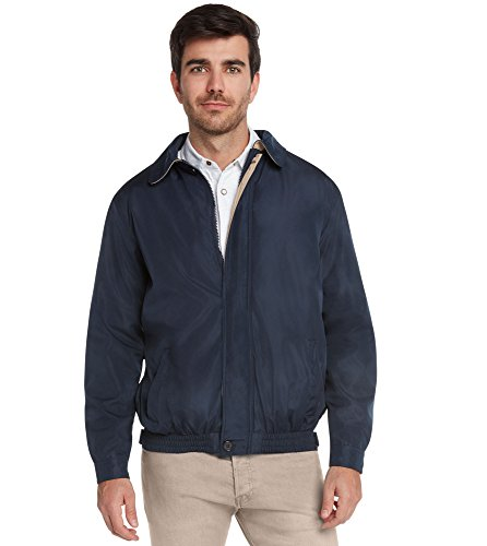 9 Crowns Men's Water Resistant Lightweight Paneled Harrington Jacket Navy/Khaki-Medium