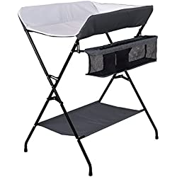 Costzon Baby Changing Table, Folding Diaper Station Nursery Organizer for Infant (Gray)