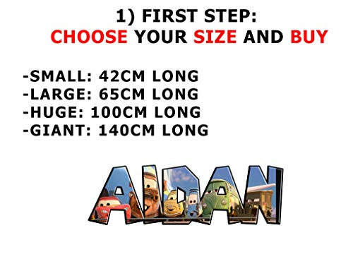 Cars Movie Personalized Name Decal Wall Sticker Home Art Disney McQueen J244, Giant