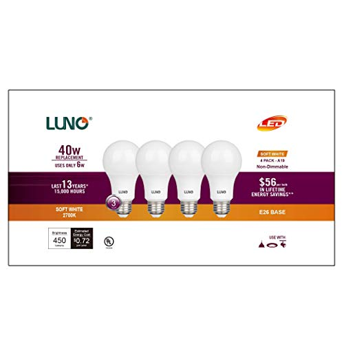 LUNO A19 Non-Dimmable LED Bulb, 6.0W (40W Equivalent), 450 Lumens, 2700K (Soft White), Medium Base (E26), UL Certified (4-Pack)