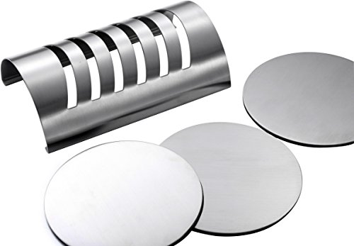 Large Product Image of Stainless Steel Drink Coaster Set - Prevent Stains and Scratches with 6 Round Table Coasters for Glasses, Bar Drinks, Mugs, Coffee Cups, Tea, Wine, Beverages by Pro Chef Kitchen Tools