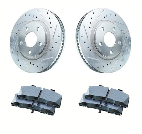 1997 - 2004 Chevrolet Chevy Corvette C5 All ( Including Z06 ) Rear Cross Drilled / Slotted Sport Brake Rotors and Performance Ceramic Pad Package