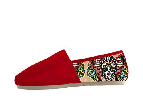 Zapatos Ocasionales De La Lona Para Mujer Con El Tema De Día De Los Muertos Zapatos Casuales De Las Mujeres02