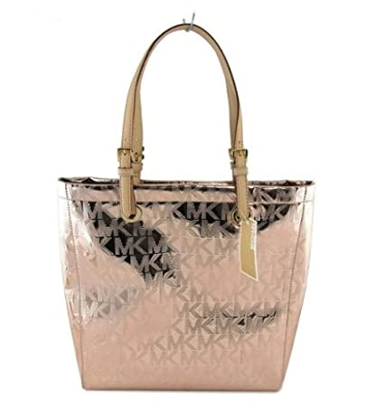 7511ab5e232e Amazon.com   Michael Kors Jet Set Item MK Signature Mirror Metallic Item  North South Tote 38T1CTTT3Z (Rose Gold)   Beauty