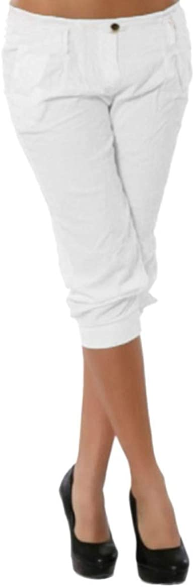 Risthy Tallas Grandes Algodon Verano 3 4 Tres Cuartos Largo Pantalones De Correr Para Mujer Ventura Pantalonbes Cortos De Deporte Casual Estilo Oficina Capri Amazon Es Ropa Y Accesorios