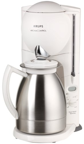 Krups 229-7A Aroma Control Coffeemaker with Thermal Carafe and Programmable Timer, White and Brushed Chrome, - Chrome Maker Brushed Coffee