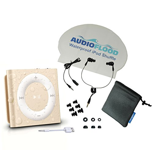 Waterproof Apple Ipod Shuffle By Audioflood with True Short Cord Headphones - Highest Rated Waterproof Mp3 Player on Amazon (Gold) by AudioFlood