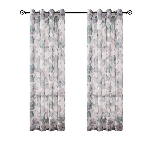 """(Gold Dandelion Floral Print Curtain Panel, Faux Linen Grommet Top Window Drapes, Room Décor Contemporary Watercolor Petal Printed Curtain Drapes Perfect Living Room Bedroom, 54 84"""" Set of 2 Green )"""