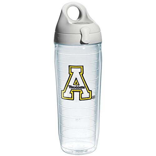 Tervis 1073499 Appalachian State University Emblem Individual Water Bottle with Gray lid, 24 oz, Clear