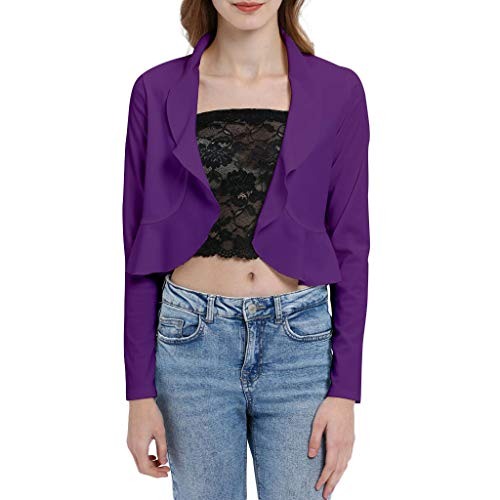 DONTAL Women Short Jacket Long Sleeve Solid Color Wavy Collar Tops Slim Blouse Outwear Purple